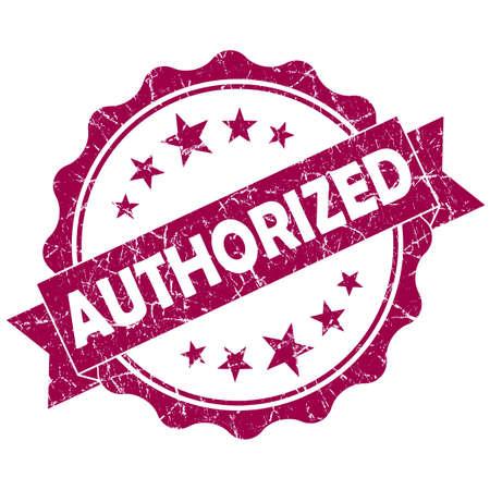qualify: Authorized pink vintage round grunge seal isolated on white background Stock Photo