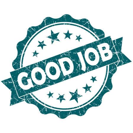 good job: Good JOB turquoise vintage round grunge seal isolated on white background Stock Photo
