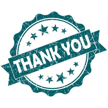 thankfulness: Thank you turquoise vintage round grunge seal isolated on white background