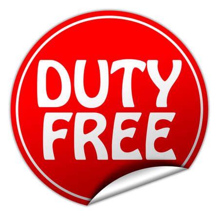 duty free: duty free round red sticker on white background Stock Photo