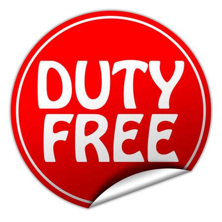 reduced value: libre de impuestos rojo Etiqueta en el fondo blanco