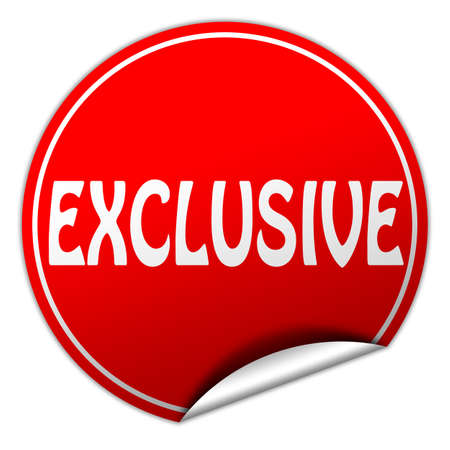 EXCLUSIVE round red sticker on white background photo