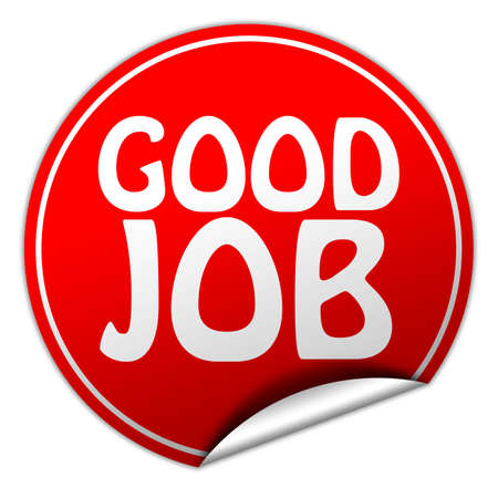 well done: Good job round red sticker on white background Stock Photo