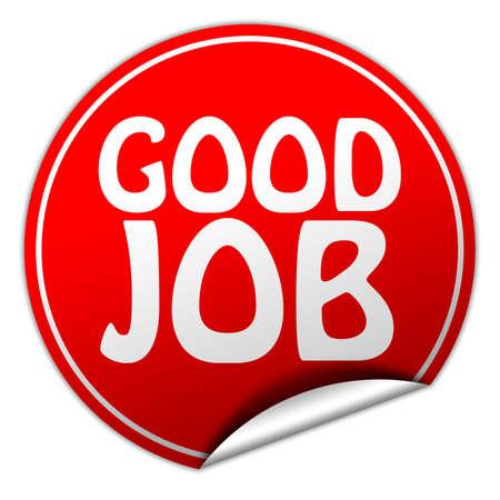 done: Good job round red sticker on white background Stock Photo
