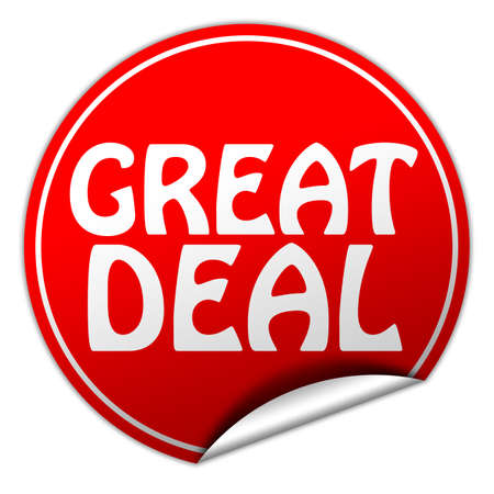 great deal round red sticker on white background photo