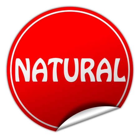 natural round red sticker on white background photo