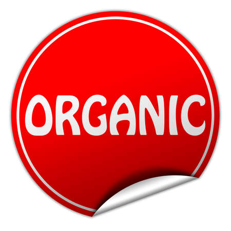 organic round red sticker on white background photo