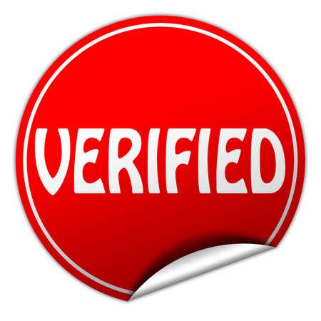 verifying: verified round red sticker on white background