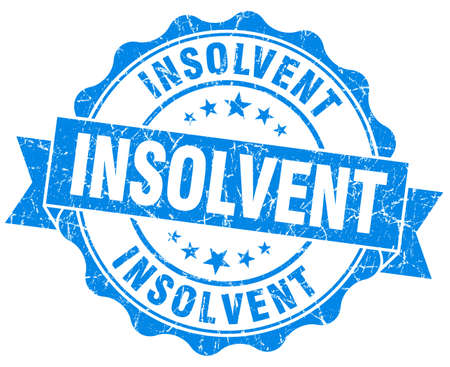insolvent: Insolvent blue grunge seal isolated on white  Stock Photo