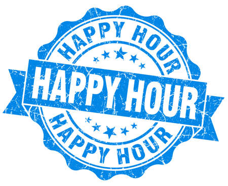 Happy hour blue grunge seal isolated on white background