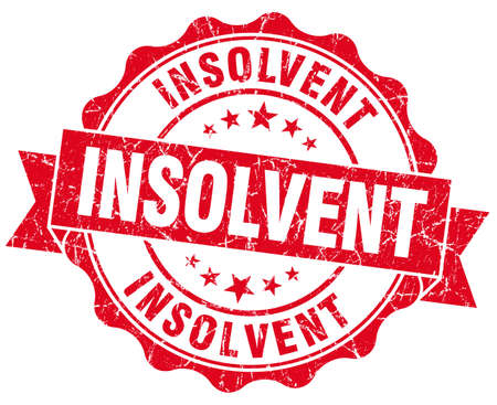 moneyless: Insolvent red grunge seal isolated on white