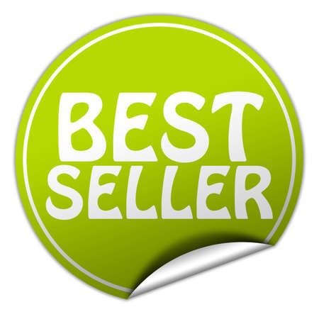 peel off: Best seller round green sticker on white background Stock Photo