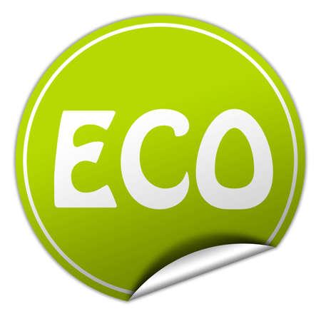 ECO round green sticker on white background photo