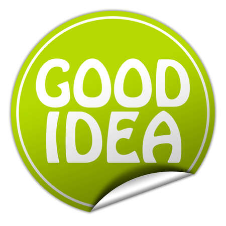 GOOD IDEA round green sticker on white background photo