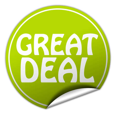 great deal round green sticker on white background photo