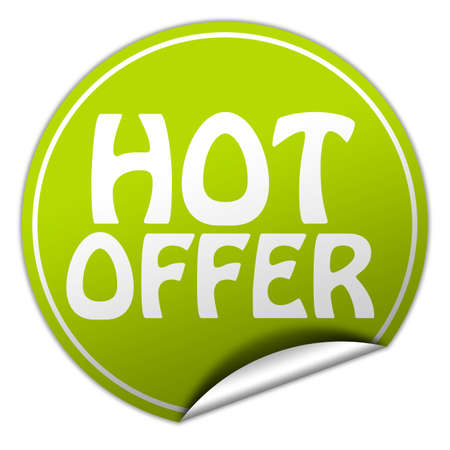 peel off: hot offer round green sticker on white background