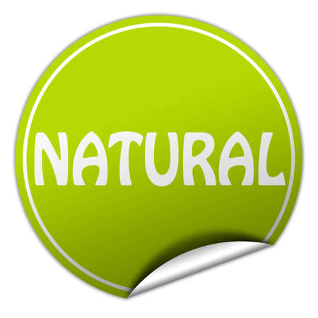 natural round green sticker on white background photo