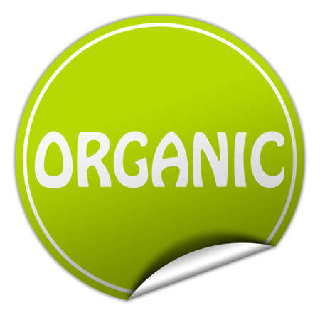 organic round green sticker on white background photo