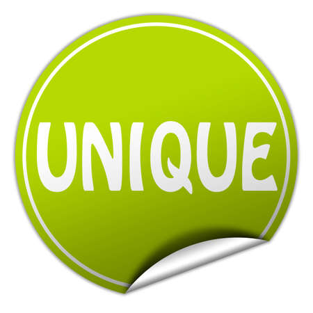 unique round green sticker on white background photo