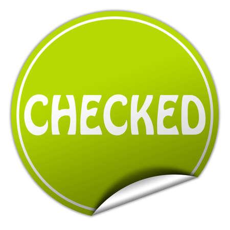 checked round green sticker on white background photo
