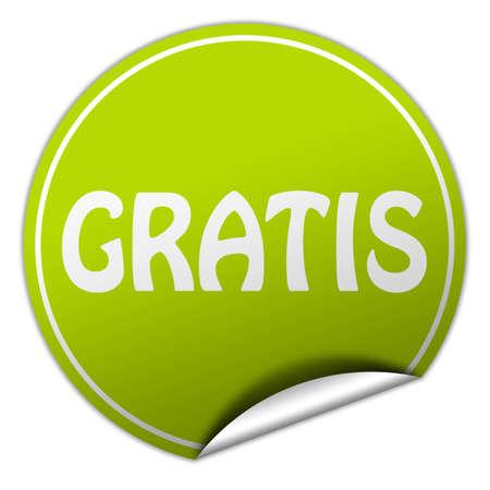 gratis: gratis round green sticker on white background