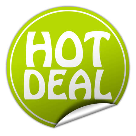 hot deal: hot deal round green sticker on white background