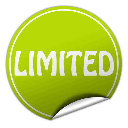 limited round green sticker on white background photo