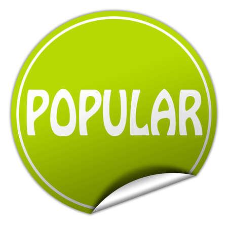 popular round green sticker on white background photo