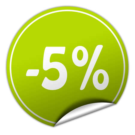 peel off: discount round green sticker on white background Stock Photo