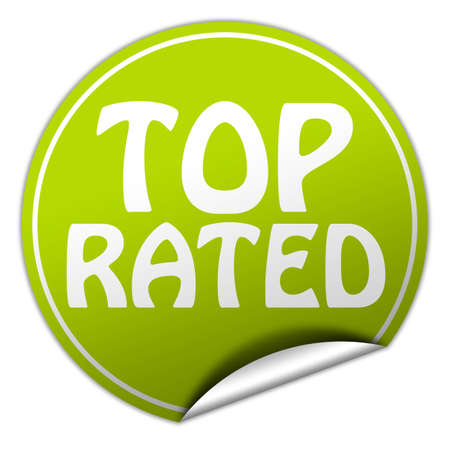 top rated round green sticker on white background photo
