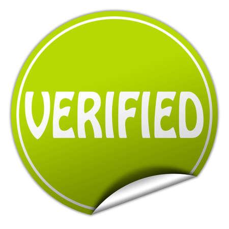 verified round green sticker on white background photo