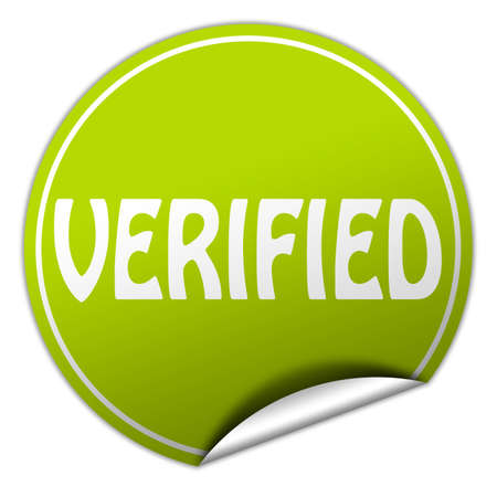 verifying: verified round green sticker on white background Stock Photo