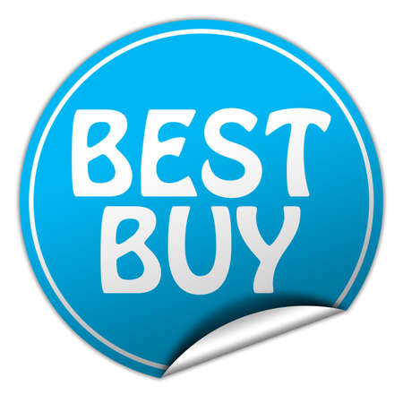 buy now: BEST BUY round blue sticker on white background