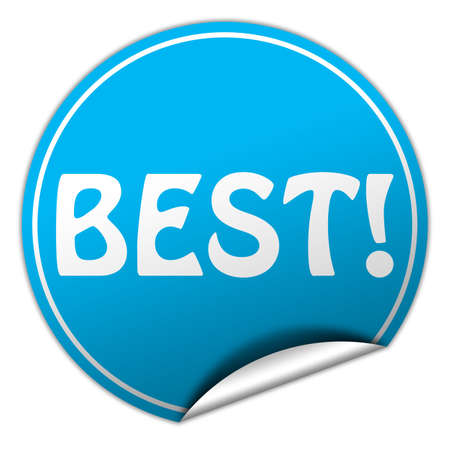 peel off: Best round blue sticker on white background Stock Photo