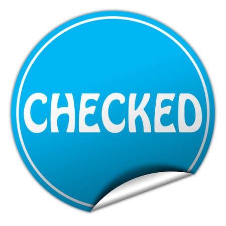 checked round blue sticker on white background photo