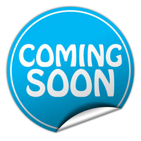 coming soon round blue sticker on white background 写真素材