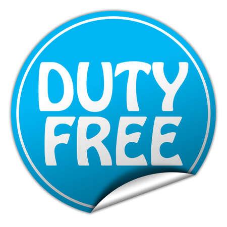 peel off: duty free round blue sticker on white background