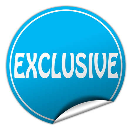 EXCLUSIVE round blue sticker on white background photo