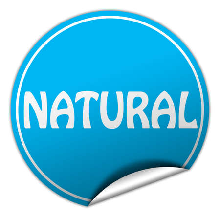 natural round blue sticker on white background photo