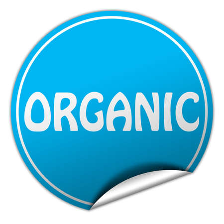 organic round blue sticker on white background photo