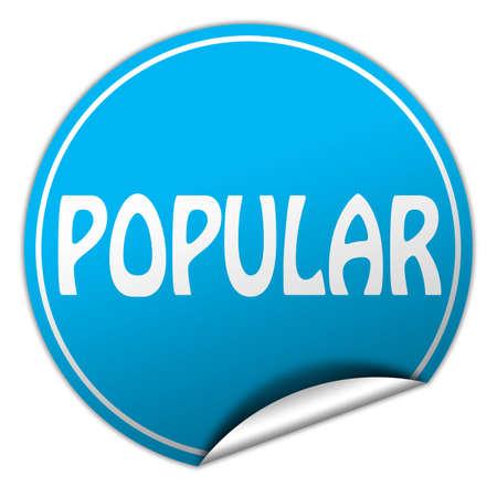 popular round blue sticker on white background photo