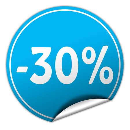 peel off: discount round blue sticker on white background