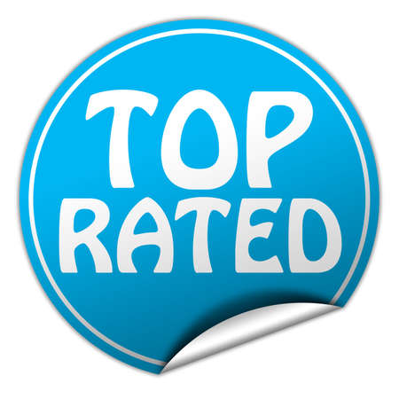 top rated round blue sticker on white background photo