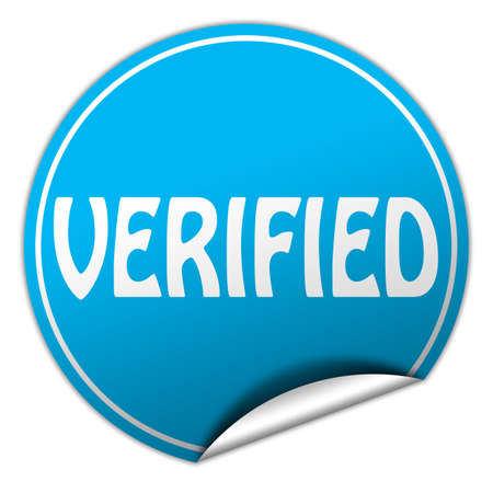 canceled: verified round blue sticker on white background