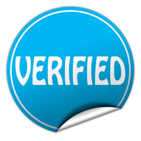 verifying: verified round blue sticker on white background