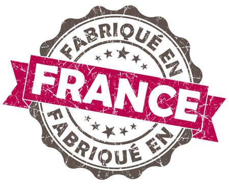 en: fabrique en france pink grunge seal isolated on white background