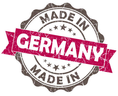 made in germany pink grunge seal isolated on white background photo