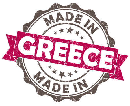 made in greece stamp: made in greece pink grunge seal isolated on white background Stock Photo
