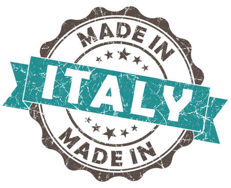 made in italy turquoise grunge seal isolated on white background photo