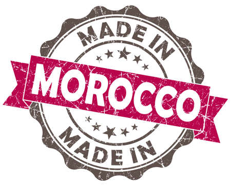 made in morocco: made in morocco pink grunge seal isolated on white background